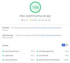 no-polyfills page-speed-insights