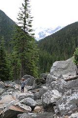 Boulder nature walk in Glacier National Park in British Columbia Canada