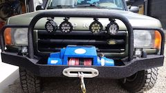 Land Rover Custom Bumper with Kingone Winch, Auxiliary Lights and Linex coating