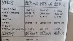 Tire pressure specs for Land Rover Discovery 2 2001