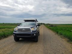 Toyota Sequoia Second Gen Camping Set Up with Roof Top Tent and Awning
