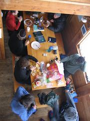 Breakfast backcountry hut style, ready for a day of skiing