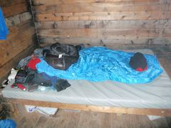 A bed in Jumbo hut, Canada