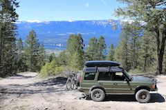 Land Rover heading up Mt Swansea, British Columbia, Canada for a hike then downhill bike ride