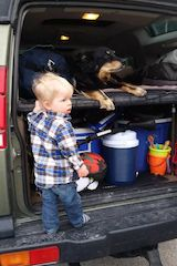 Boy and His Dog Hanging Out in Their Land Rover