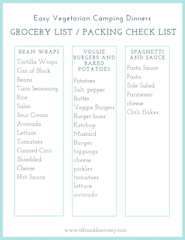 3 Easy Vegetarian Camping Dinner Meals with Grocery and Packing List
