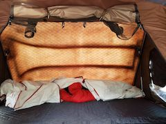 Interior of iKamper with Sleeping Bags prior to closing the tent - yes we keep the iKamper insulation layer and sleeping bags in the tent when we close it!