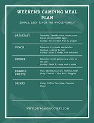 Weekend Camping Meal Plan