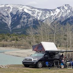 Toyota Sequoia Camping with iKamper roof-top tent, Thule Hideaway Awning