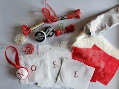 Stitched bottle cap ornament supplies