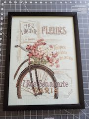 framed cross stitch completed