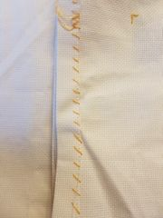 hemmed fabric edges cross stitch