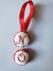 assembling stitched padded bottle cap ornament