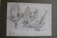 owls in flight cross stitch