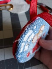 stitched hanging ornament with padded backing